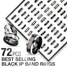 Wholesale 72 Lot 316L Stainless Steel Black IP Band  Rings