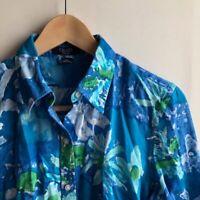 CHAPS Blue White Green Floral Cotton 3/4 Sleeve Button Down Shirt PETITE LP PL