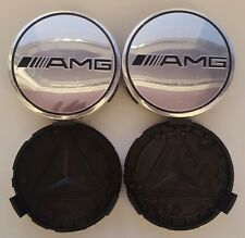 4x Silver AMG Fits MERCEDES BENZ 75mm ALLOY WHEEL BADGES CENTRE CAPS