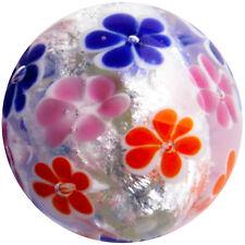 "22mm MORNING DEW Pink Orange Flower Handmade Contemporary art glass Marble 7/8"""