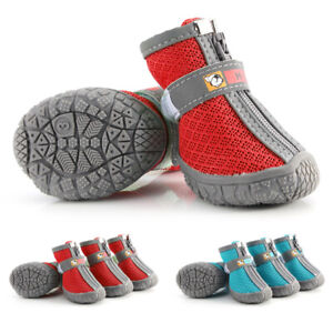 Pet Dog Mesh Shoes Boots Booties Socks Reflective Anti-Slip Paw Protector 5 Size