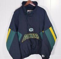 VTG Green Bay Packers Starter Coat Pullover Parka NFL Winter Hood Jacket 90s SzL