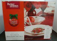 Better Homes & Gardens Poinsettia 12 pcs - 4 place Dinner,Salad & Soup NEW