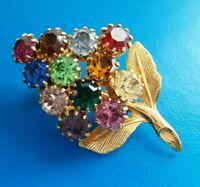 Vintage Multicolor Rhinestone Flower Brooch Jewelry Pin