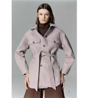 Zara AW2020 Mauve Belted Overshirt Shacket Size S BNWT Sold out