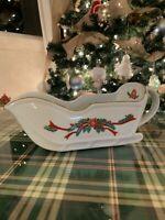 POINSETTIA & RIBBONS Fine China Christmas Sleigh Gravy Boat
