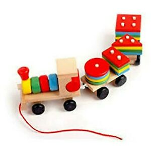 Wood Shapes Building Blocks Kids Montessori Learning Education Toys Games Puzzle