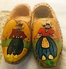 Vintage Wooden Dutch Holland Clogs Hand Carved and Painted 7� long Children Size