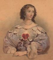 Lithographie Henriette Marie de France Henrietta Maria Charles I Kind of England