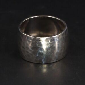 VTG Sterling Silver - 13mm Hammered Wide Band Ring Size 9.5 - 5.5g