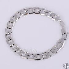 "Chunky 9"" 24k White Gold Filled Mens Womens Bracelet 12mm Jewelry"