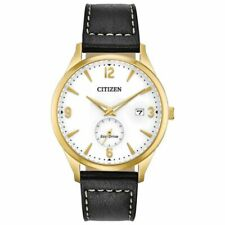 Citizen Eco-Drive Men's Black Leather Strap 40mm Watch - Gold,Yellow (BV1112-05A)