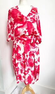Womens PHASE EIGHT Pink Red Poppy Floral Print Blouson 70s Dress 12 Summer