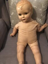 Antique Vintage Tin Sleepy Eyes Open Mouth 1920's Baby Doll Restoration Creepy