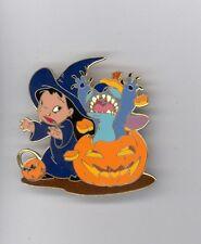 Disney Auctions Halloween Pumpkin Stitch Startles Lilo Witch Jumbo LE Pin