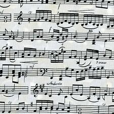 Fabric Music Staff Lines & Note Sheet Music Black on Off White Cotton 1/4 yard