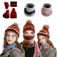 Women Winter Warm Hat Scarf Touch Screen Gloves Set Knitted Beanie Cap