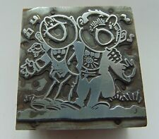 Printing Letterpress Printers Block 2 People Singing Arms Around Each Other