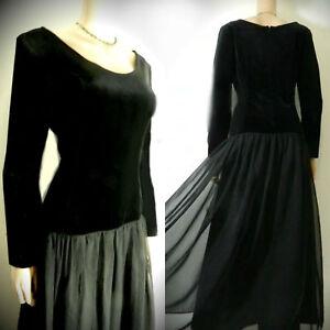 Vintage Dress Black Velvet Arrow Waist  Chiffon floaty Long full Skirt Next 10