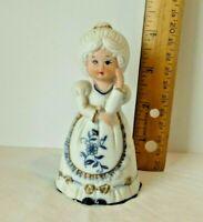 Vintage Jasco Porcelain Bell Figurine White Blue Floral Collectible