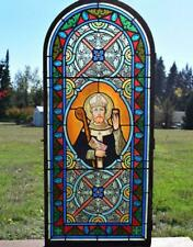 *Antique French Stained Glass Panel with Leaded Glass Religious w/Bishop