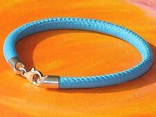 Mens / ladies 5mm blue nappa leather & sterling silver bracelet - Lyme Bay Art.