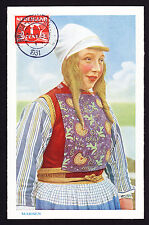 Netherlands stamp on CTO postmark 1931 colourful postcard Artist Design Girl Hat