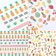 2 Sheets Pineapple Strawberry Nail Water Decals Summer Nail Art Transfer Sticker