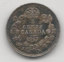 CANADA,  1917,  5 CENTS,  SILVER, KM#22, EXTRA FINE
