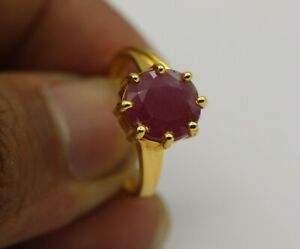 4.61 Ct Natural Gemstone Red Ruby Ring 18K Yellow Gold Beautiful Fine Jewelry