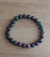 Ruby and Zoisite Pink and Green Mala Bead Stretch Bracelet