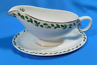 Vintage Hall China Cameo Rose Footed Gravy Boat and Underplate Set