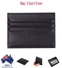 Mens Leather Wallet , Slim Credit Card Holder With ID Window, In Black