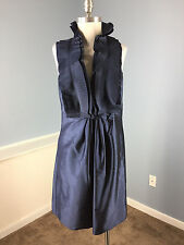Jim Hjelm Cocktail Party Dress Blue Tafeta Halter Ruffle Dress Flare M 8 10 EUC