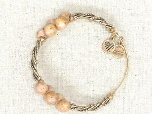 Alex and Ani Gold Twist with Tan Beads