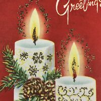 Vintage Mid Century Christmas Greeting Card Red White Glitter Candle Flame