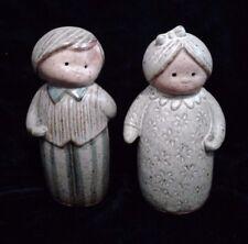 Vintage Stoneware Salt and Pepper Shakers Man Woman Couple Japan