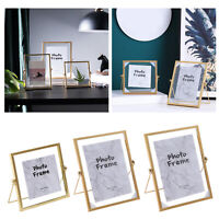 Gold Metal Glass Photo Picture Frame Home Office Display Decor Freestanding