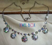EARLIER VINTAGE  Beautiful RAINBOW IRIS CRYSTAL Art Deco FLOWER DROPS  NECKLACE