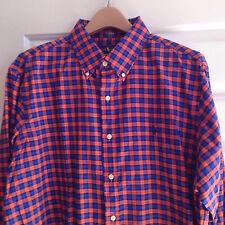 $98 Ralph Lauren Polo Navy Orange Cotton Men's Long Sleeve Casual Shirt Xlarge