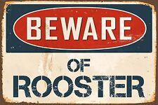 "Beware Of Rooster 8"" x 12"" Vintage Aluminum Retro Metal Sign VS475"