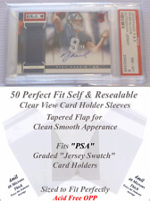 """50 Perfect Fit """"PSA"""" Graded Sports JERSEY Card Holder Sleeves Clear View"""