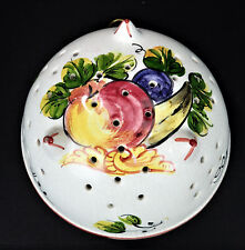 ABC Bassano Handpainted Fruit Ceramic Colander 3 Footed Strainer Italy Pottery