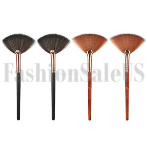 4pcs Wooden Handle Fan Shaped Blush Brushes Face Powder Foundation Makeup Tool