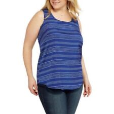 3082bded38692 Faded Glory Womens Plus Size 2x 18w-20w Flowy Blue White Stripe Tank Top