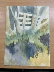 """13.75"""" x 10"""" AMATEUR WATERCOLOUR COUNTRY GATE / DRESS DOUBLE-SIDED PAINTING (P3)"""
