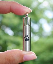 Mens Pet Cremation Jewelry Pendant Urn for Ashes LARGE Vial Paw Print Dog Cat