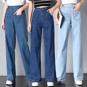 Women Retro College High Waist Boyfriend Jeans Denim Wide Leg Pants Trousers