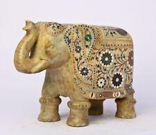 Éléphant Marbre 7,7 kilos Pierres semi précieuses Pietra Dura Statue Inde E9