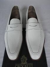 CROCKETT & JONES grain blanc en cuir veau Penny mocassin chaussures UK 7,5 E RARE